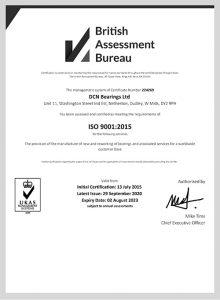 British Assessment Bureau Certificate
